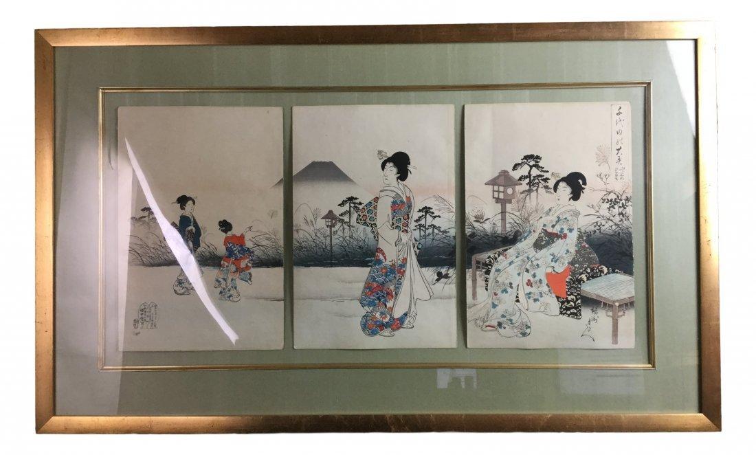 Large Triptych Japanse 3 Wood Block Framed Print