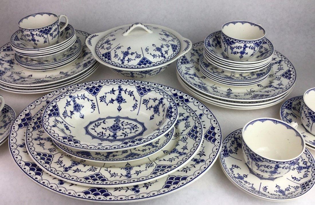 RIDGWAY English Porcelain 45 Pieces of Blue Danish