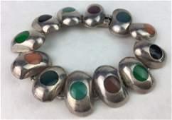TAXCO Sterling Silver Multi Gemstone Bracelet