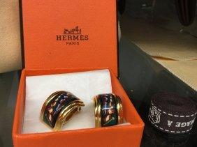 Vintage Hermes Clip On Half Hoops Earrings