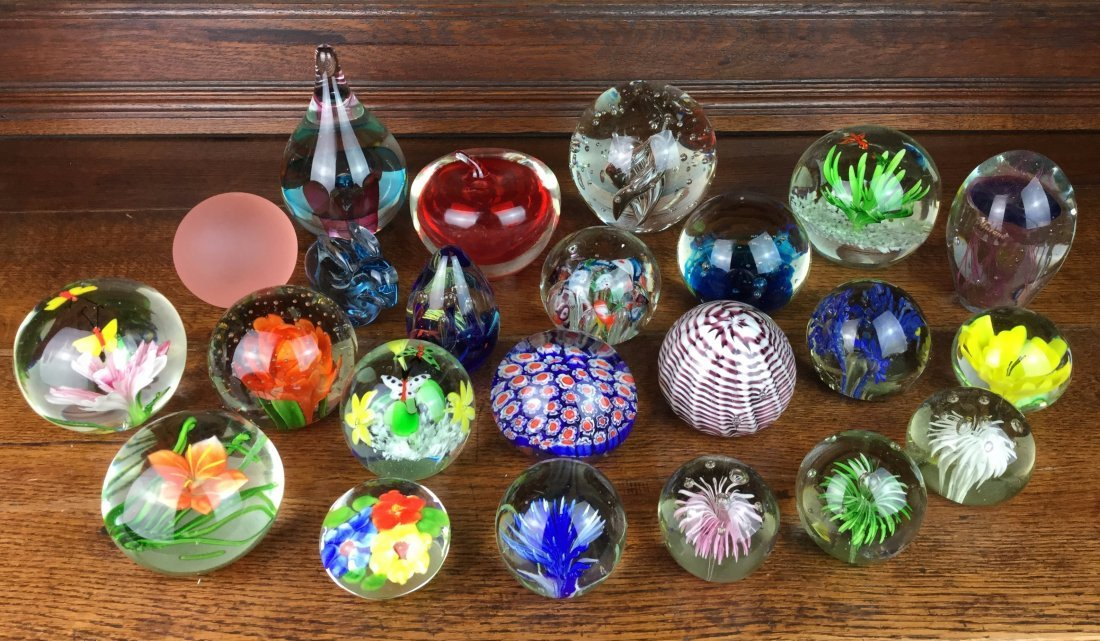 Large Collection of Art Glass Paperweights