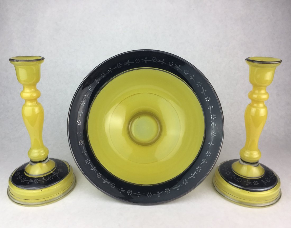 Vintage Hand Blown Yellow Glass with Silver Trim