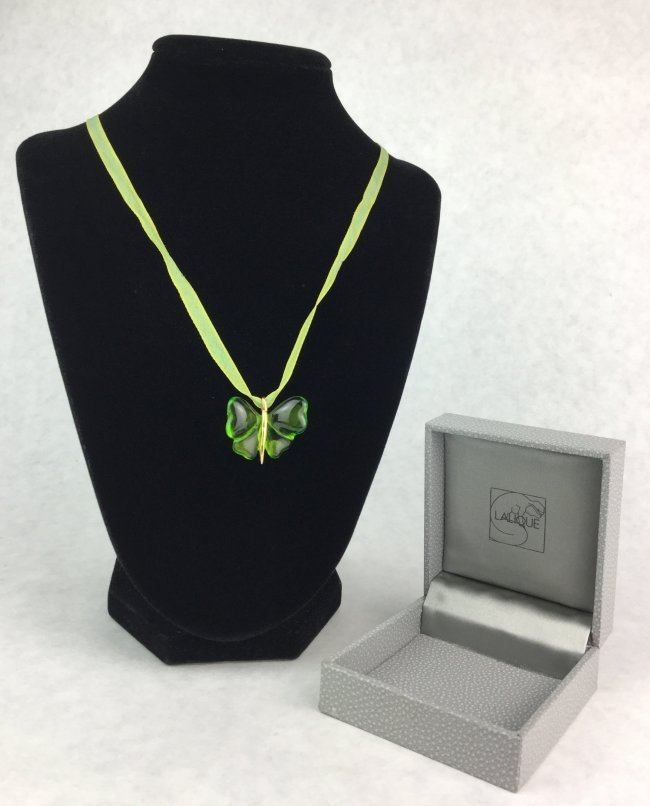 LALIQUE Crystal Green Butterfly Necklace with Box.