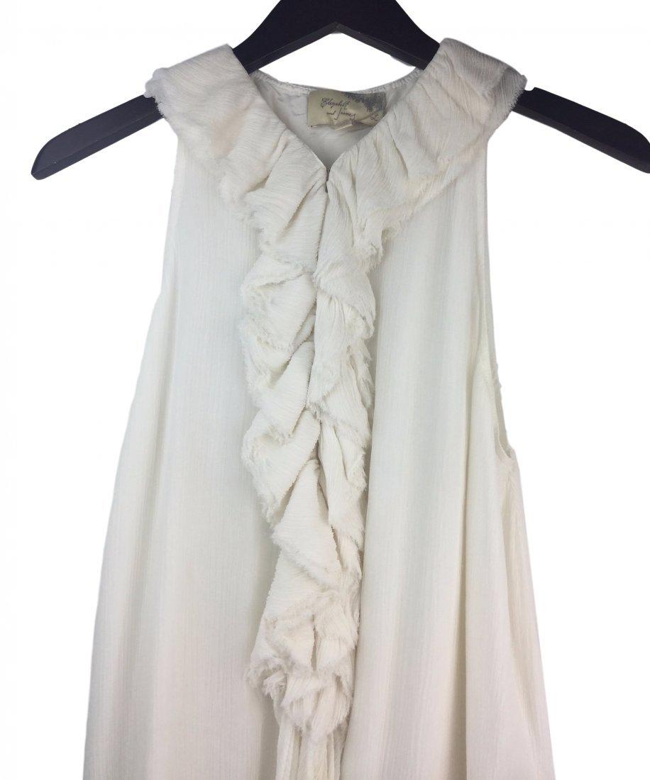 ELIZABETH & JAMES White Silk Ruffled Blouse L