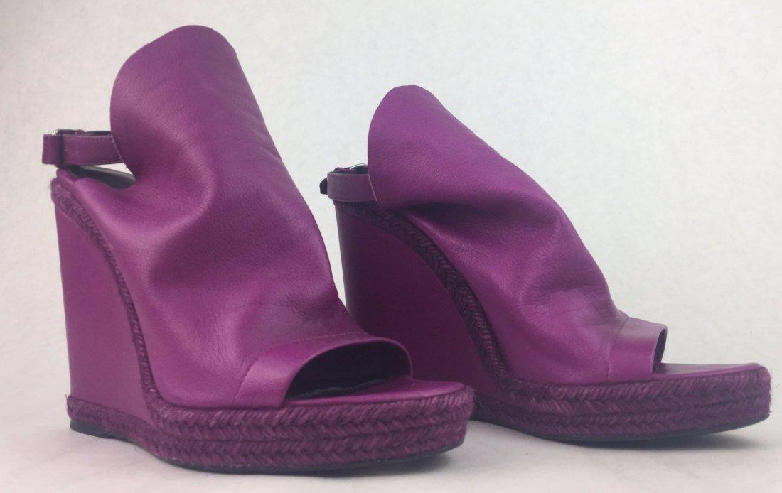 BALENCIAGA ESPADRI Magenta Leather Wedge Shoes