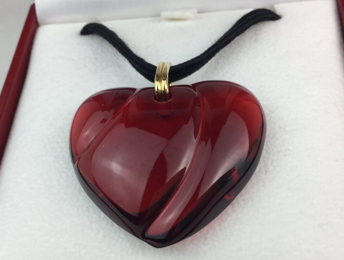 Baccarat Ruby Crystal Heart Pendant Necklace