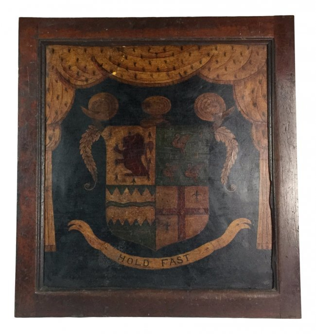 17th Century English Hand Painted CREST on Tin