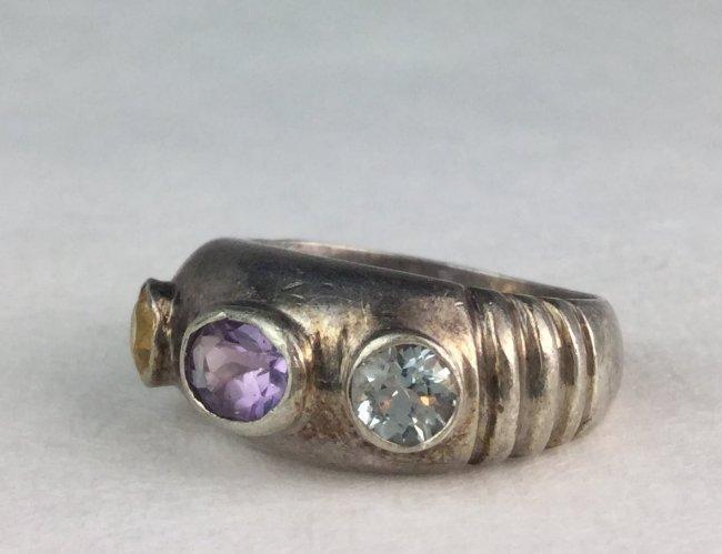 Sterling Silver & Multi Gemstone Ring