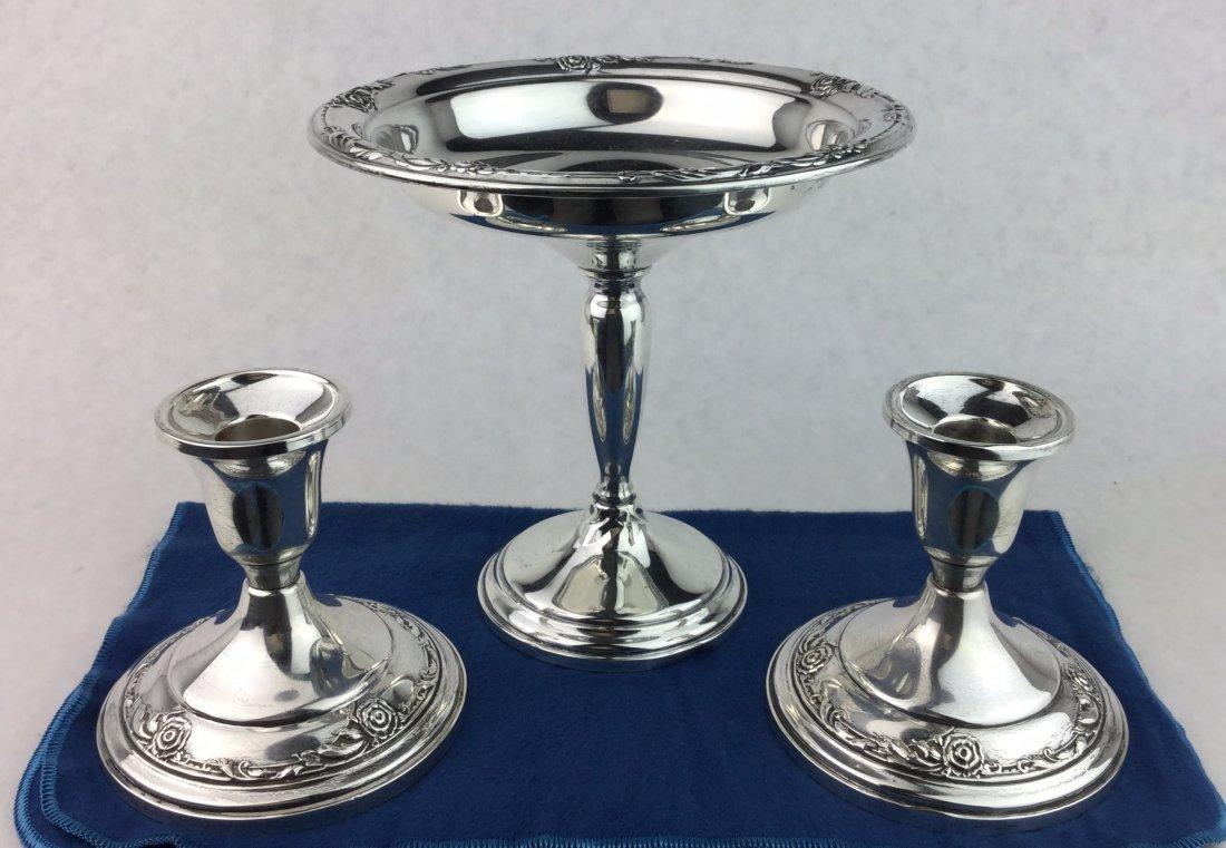 STERLING SILVER Pedestal Bowl & Candle Sticks