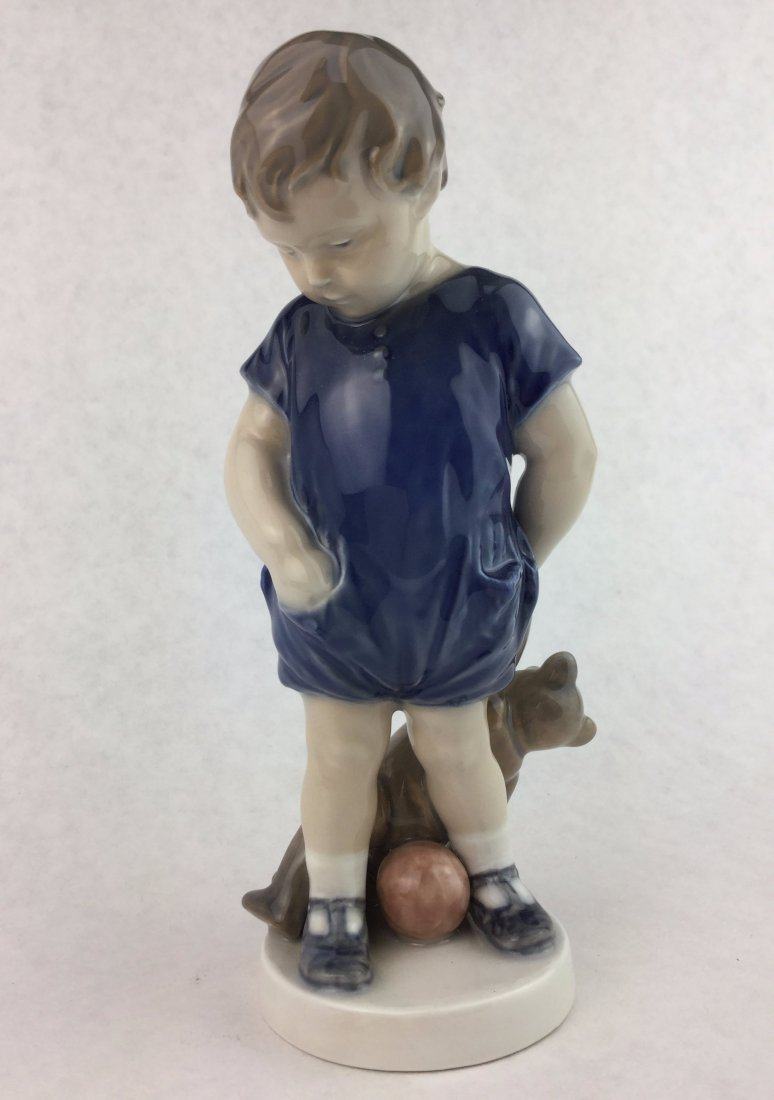 ROYAL COPENHAGEN Porcelain Figurine Boy & Teddy Bear