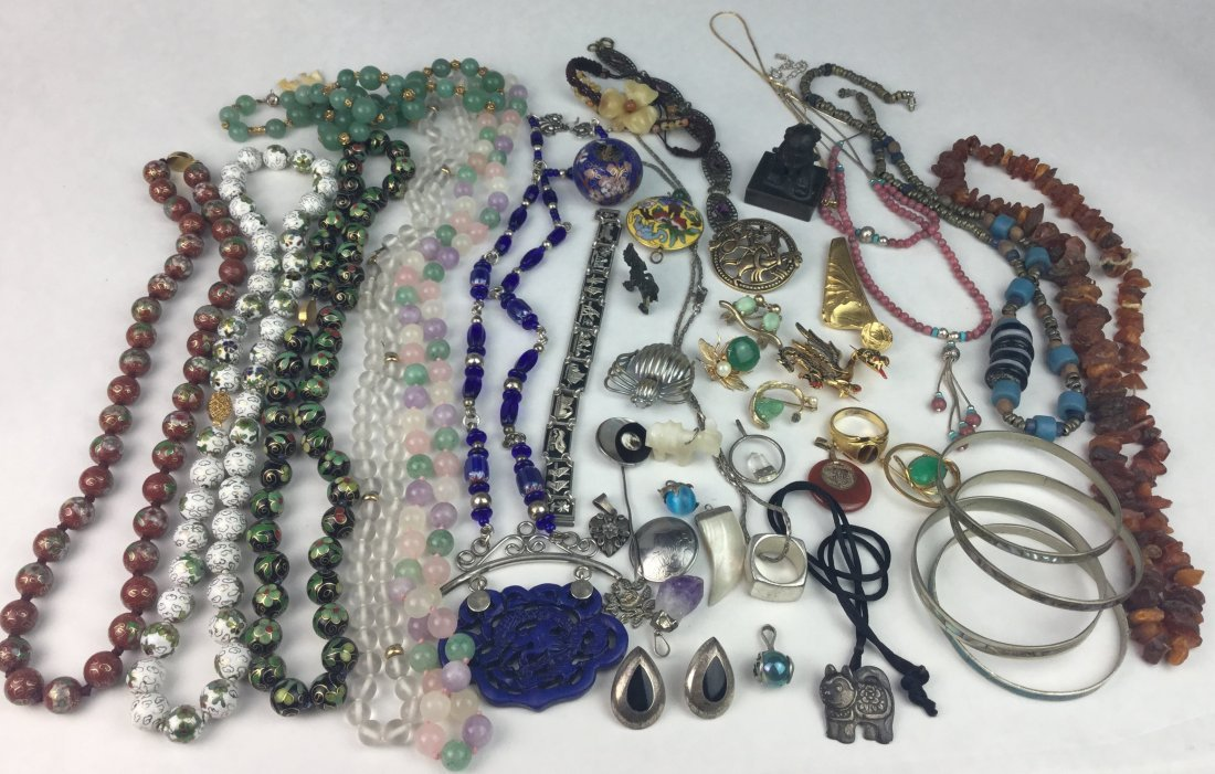 Asian Estate Jewelry Grouping with 925 Sterling & Jade