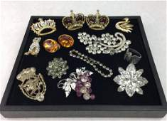 Vintage Jewelry Grouping with Rhinestones & Signed Pins
