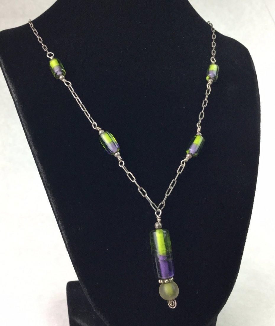Vintage 925 Sterling Art Glass Necklace