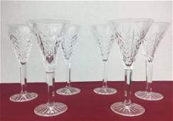 WATERFORD 6 Cut Crystal Fluted Stems 7 34