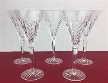 WATERFORD 5 Cut Crystal Fluted Stems 8 14