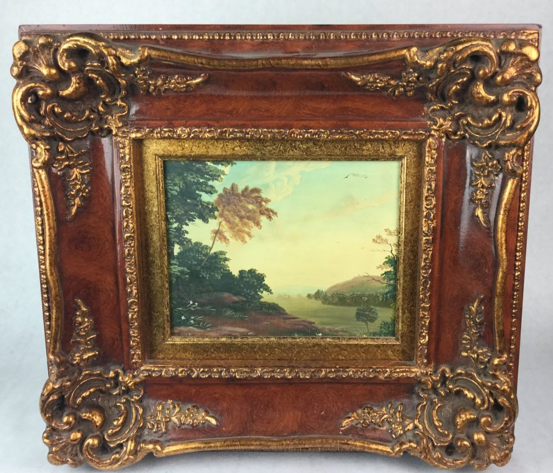Oil Painting on Board with Ornate Frame