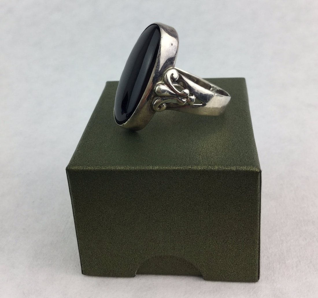 Art Deco Sterling Silver & Onyx Ring