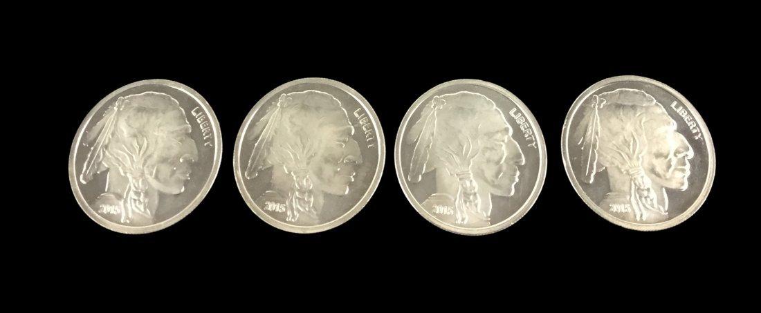 4 Fine Silver .999 1 Troy Ounce Coins