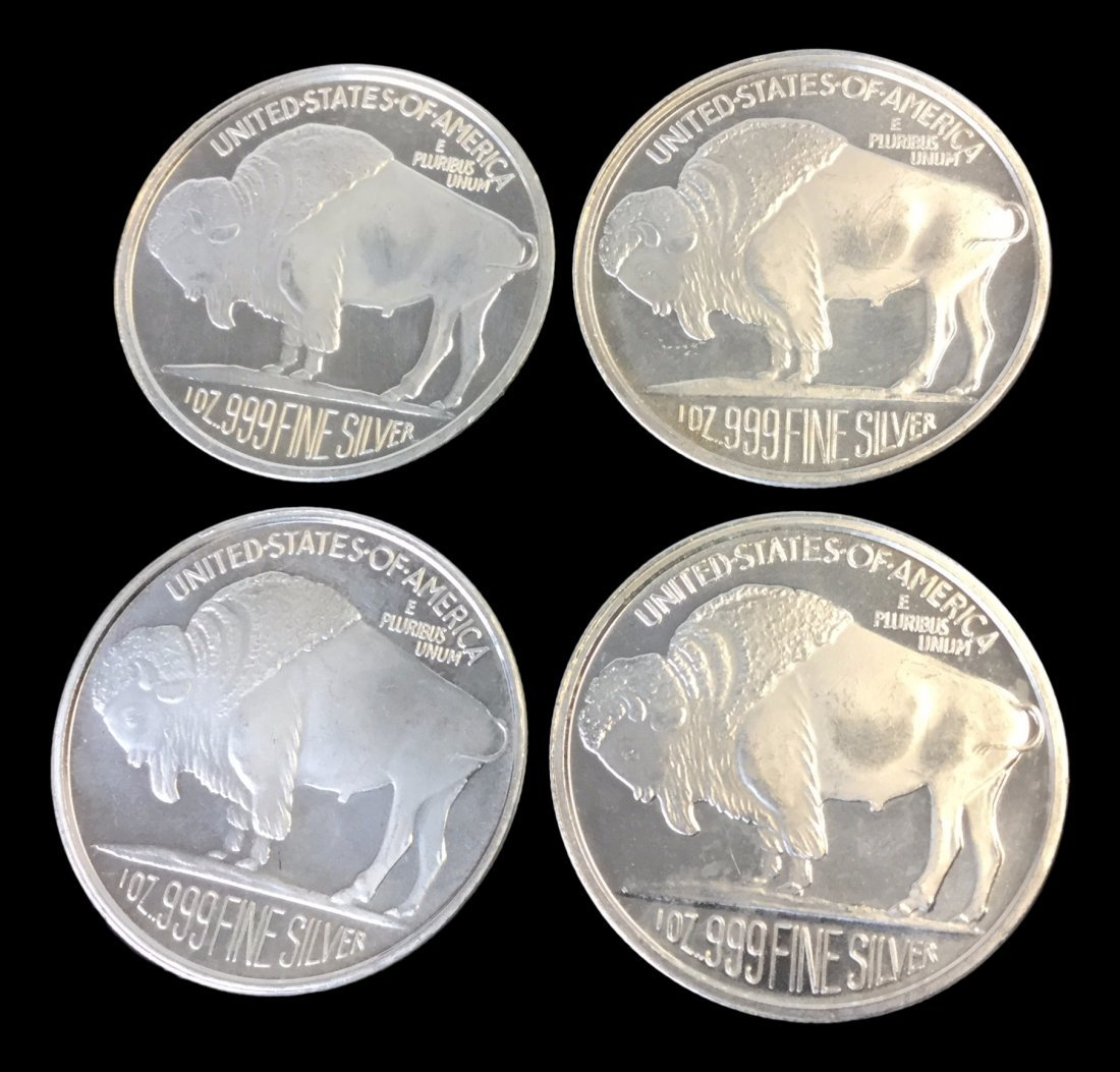 4 Fine Silver .999 1 Troy Ounce Coins - 2