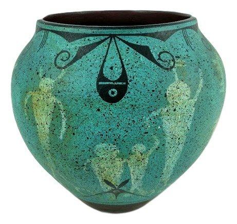 "Ralph Aragon Native American Signed Vase 8"" circa 1920"