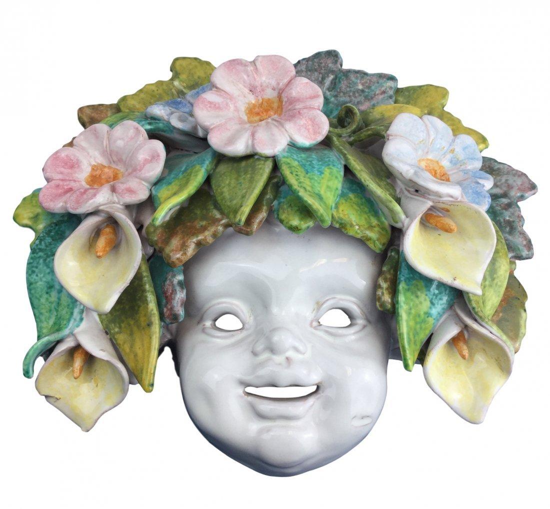 Vintage Italian Majolica mask plaque