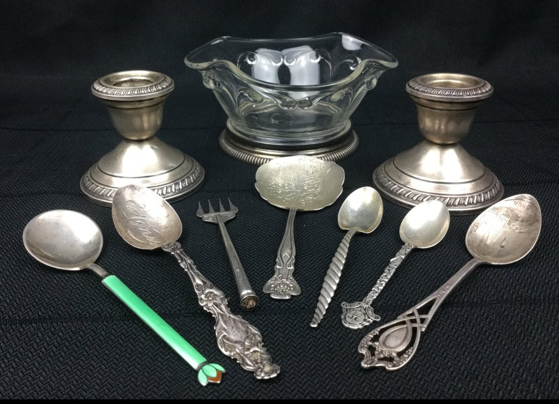 Sterling 925 lot of Spoons, Saucer & Candle sticks