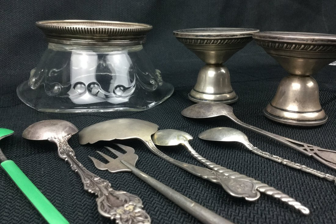 Sterling 925 lot of Spoons, Saucer & Candle sticks - 2