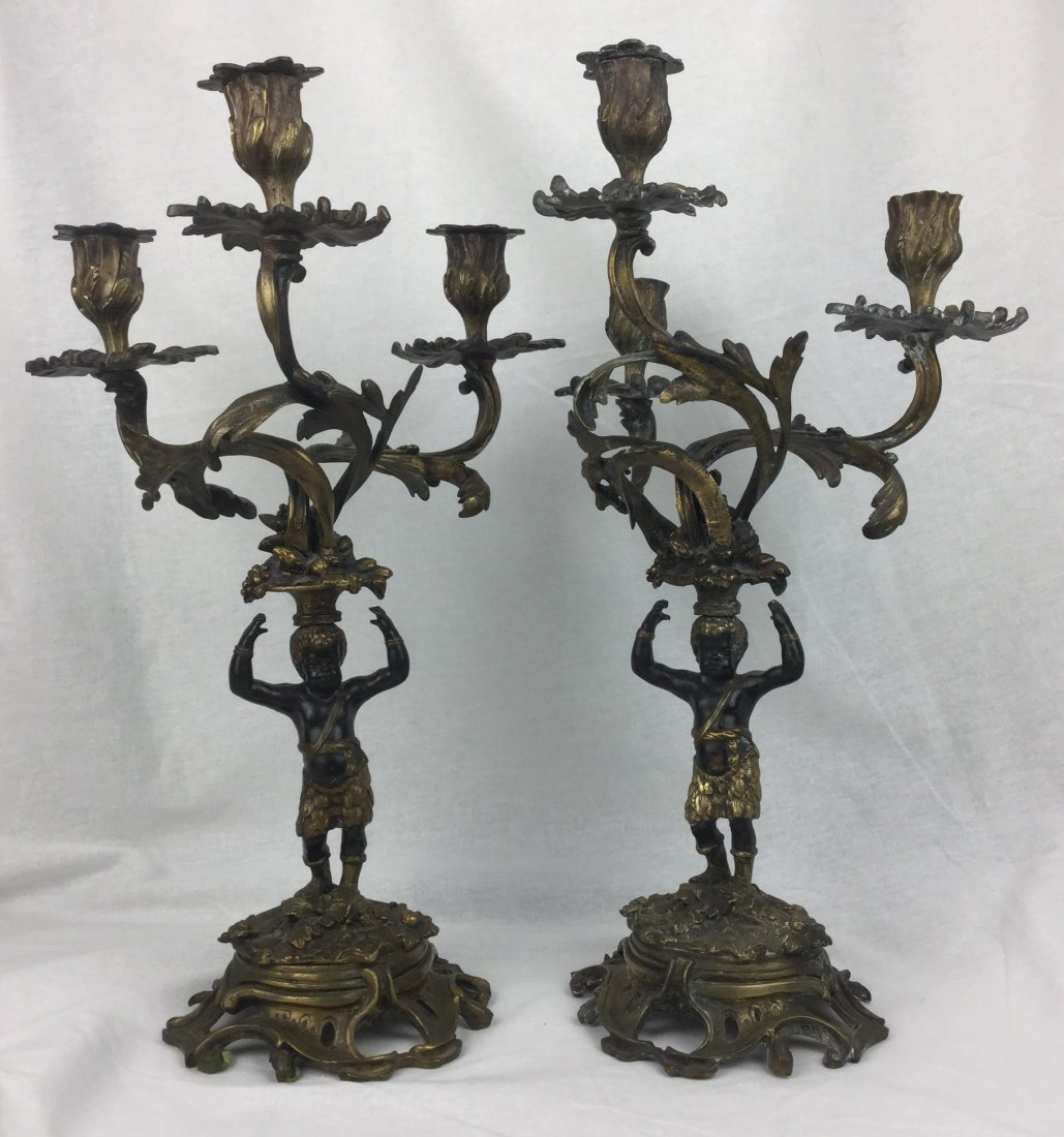 Bronze Blackamoor Candelabras M.F.