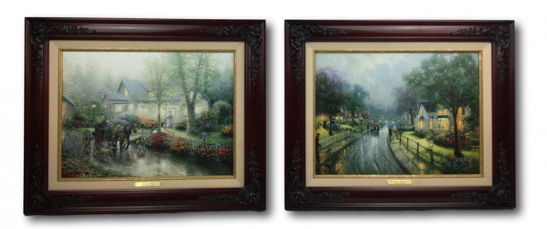 Kinkade 2 pc. Framed Oil on Canvas