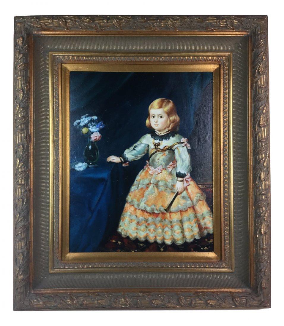 Victorian Toddler in Dress - Oil w/ heavy Ornate Frame