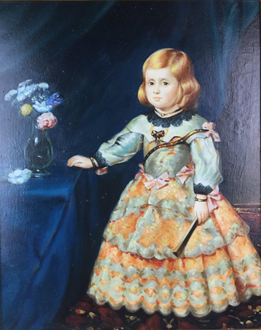 Victorian Toddler in Dress - Oil w/ heavy Ornate Frame - 3