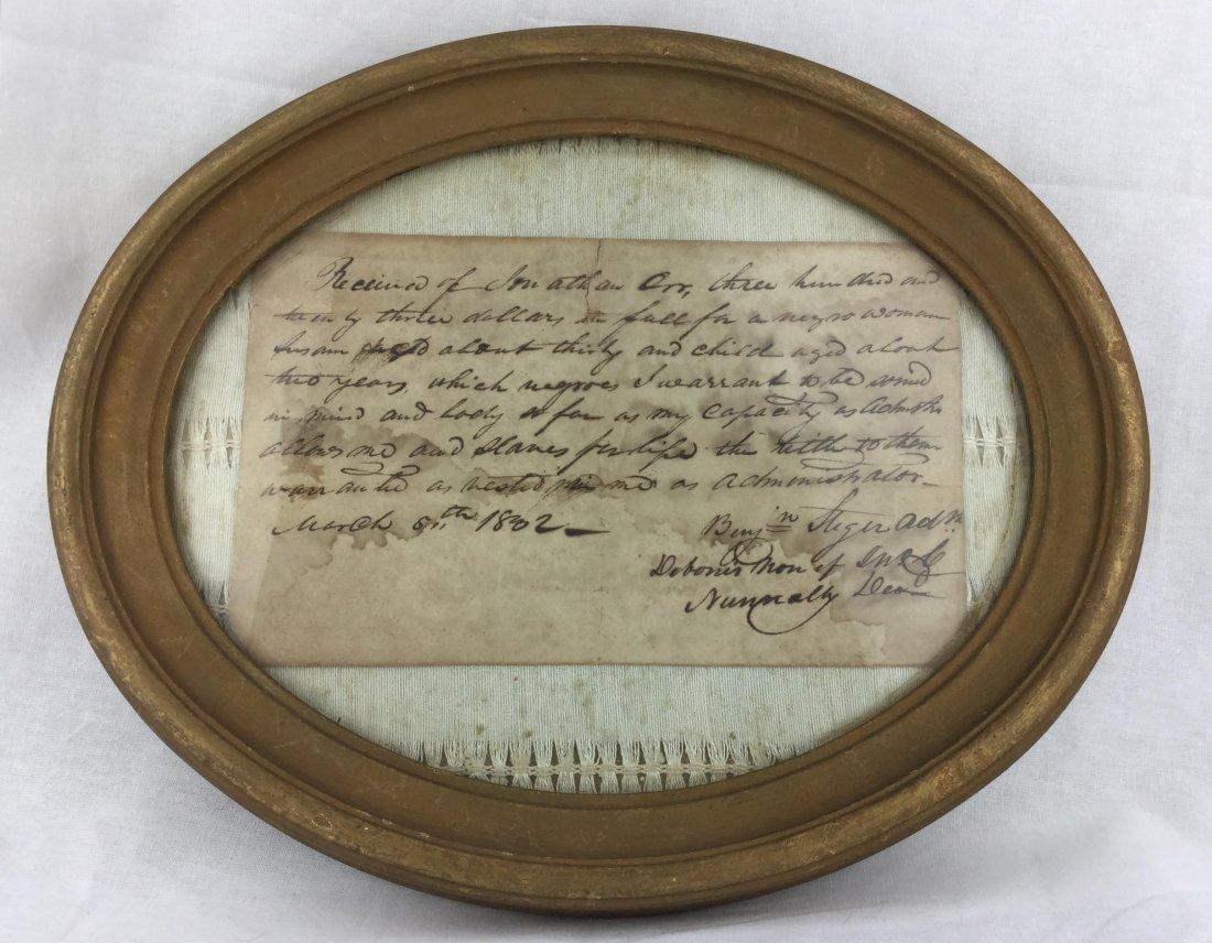 1802 Original Slavery Receipt