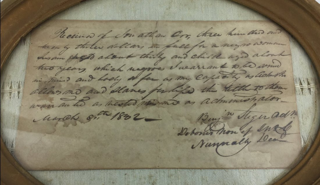 1802 Original Slavery Receipt - 2