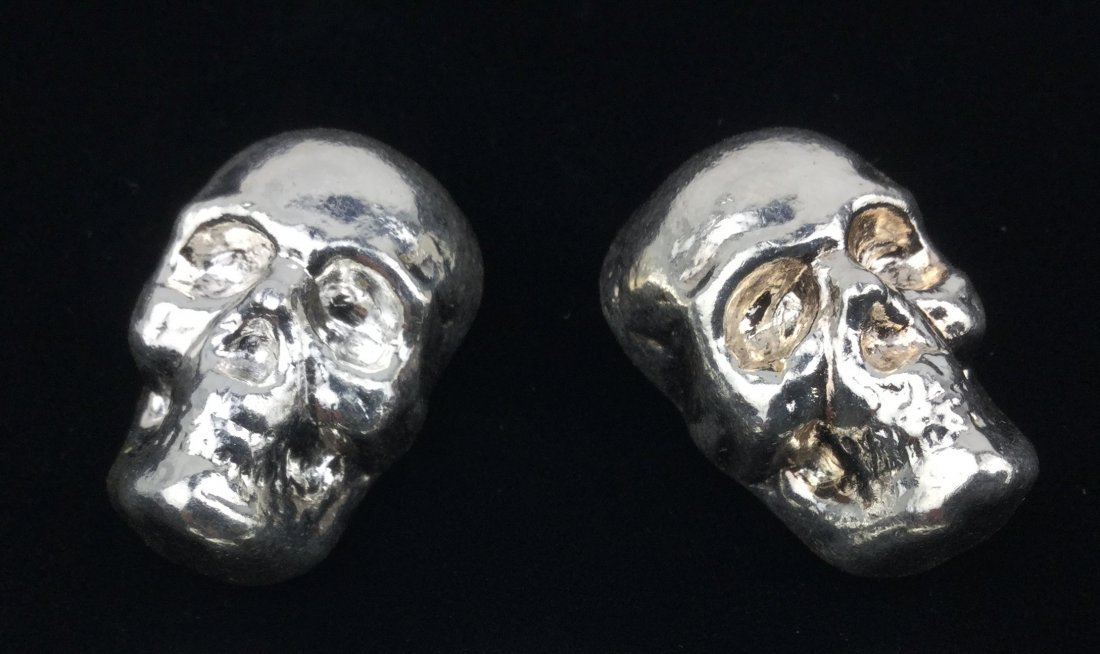"""Pair of 1 Ounce .999 Fine Silver Skulls """"YPS"""""""