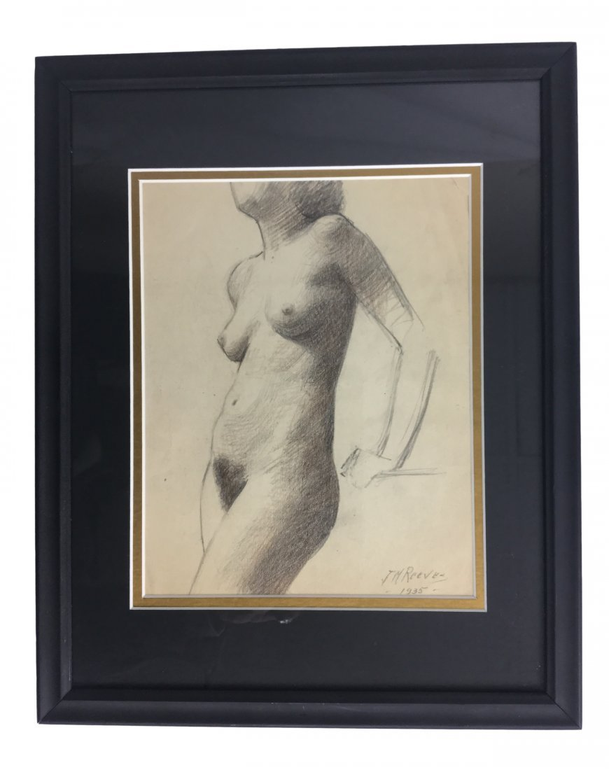 "J. Mason Reeves Pencil ""Nude"" 1935"