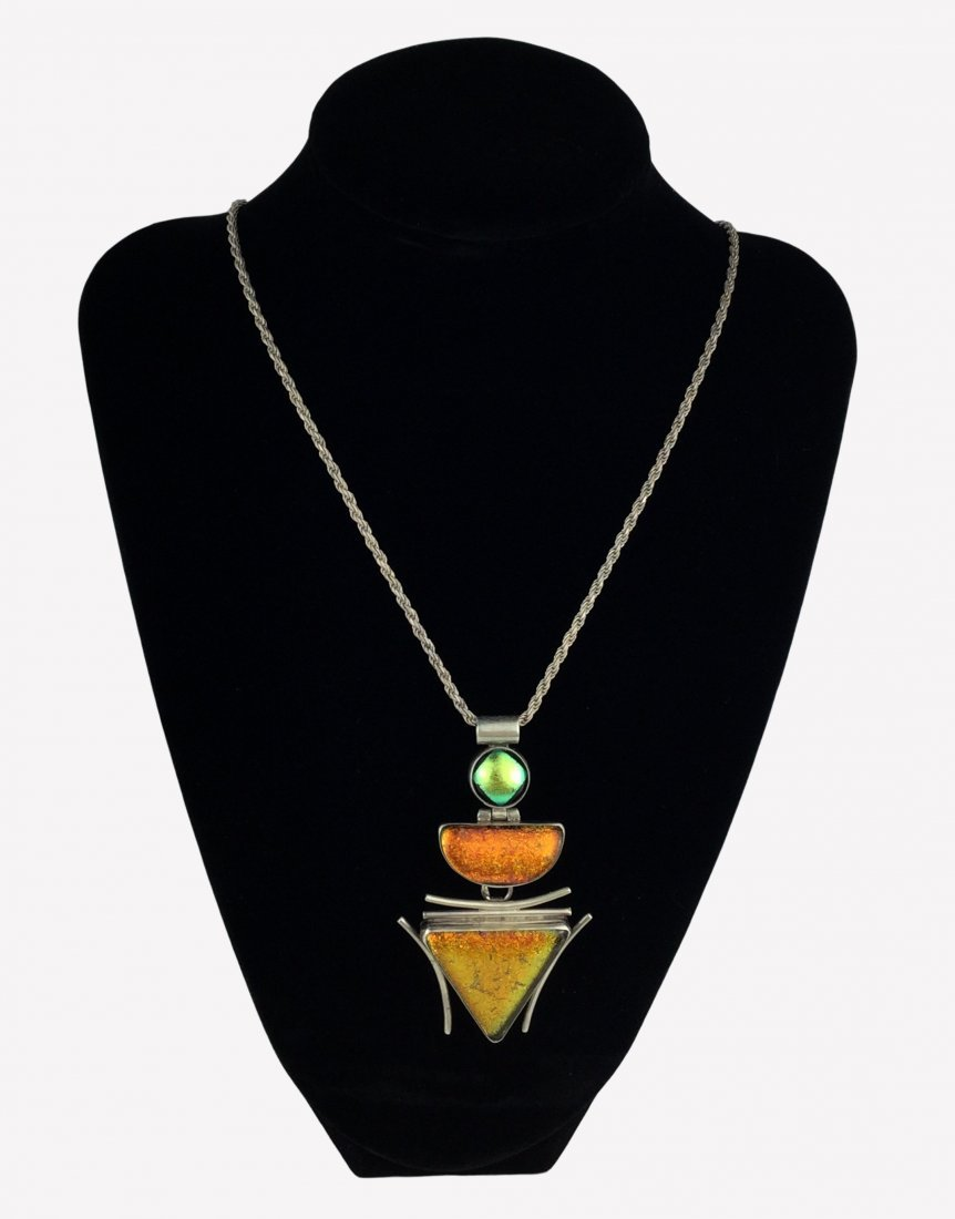 Sterling Silver Art Glass Necklace