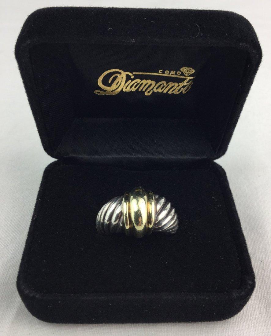 "David Yurman ""Thoroughbred"" Sterling & 14KT Ring"