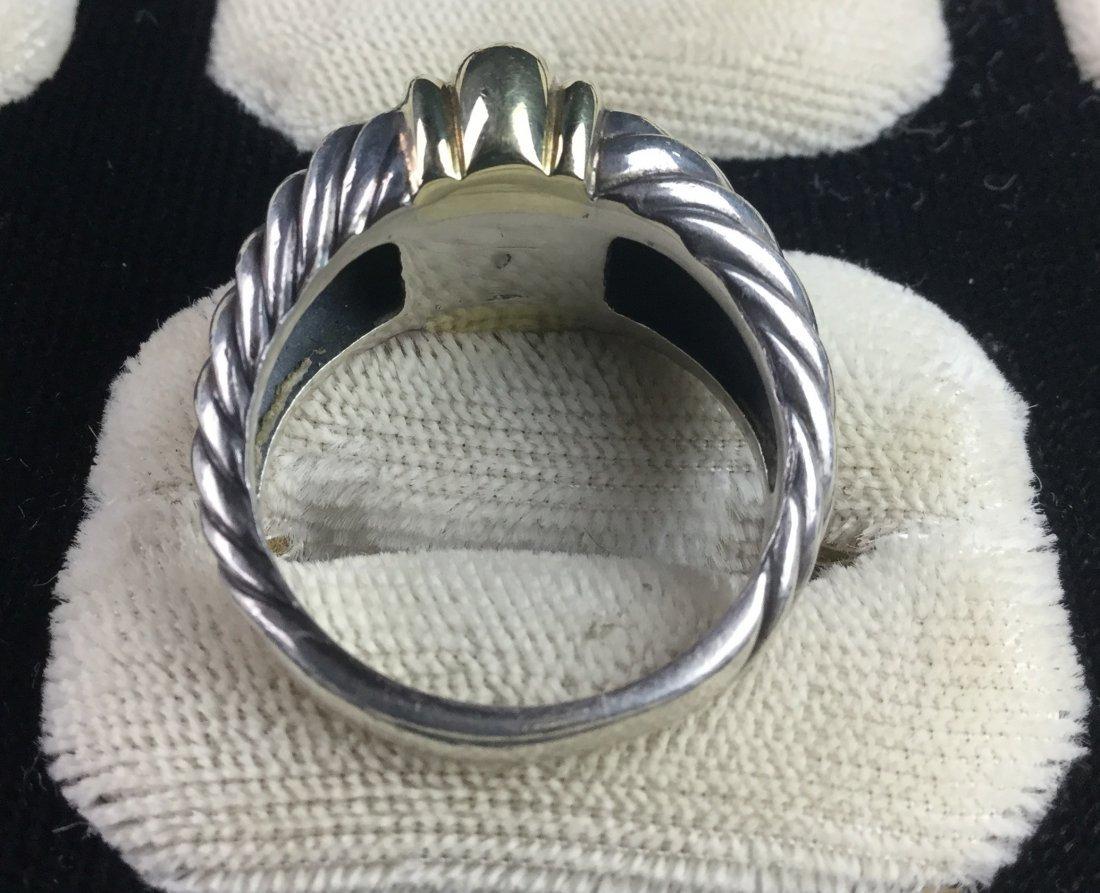 "David Yurman ""Thoroughbred"" Sterling & 14KT Ring - 3"