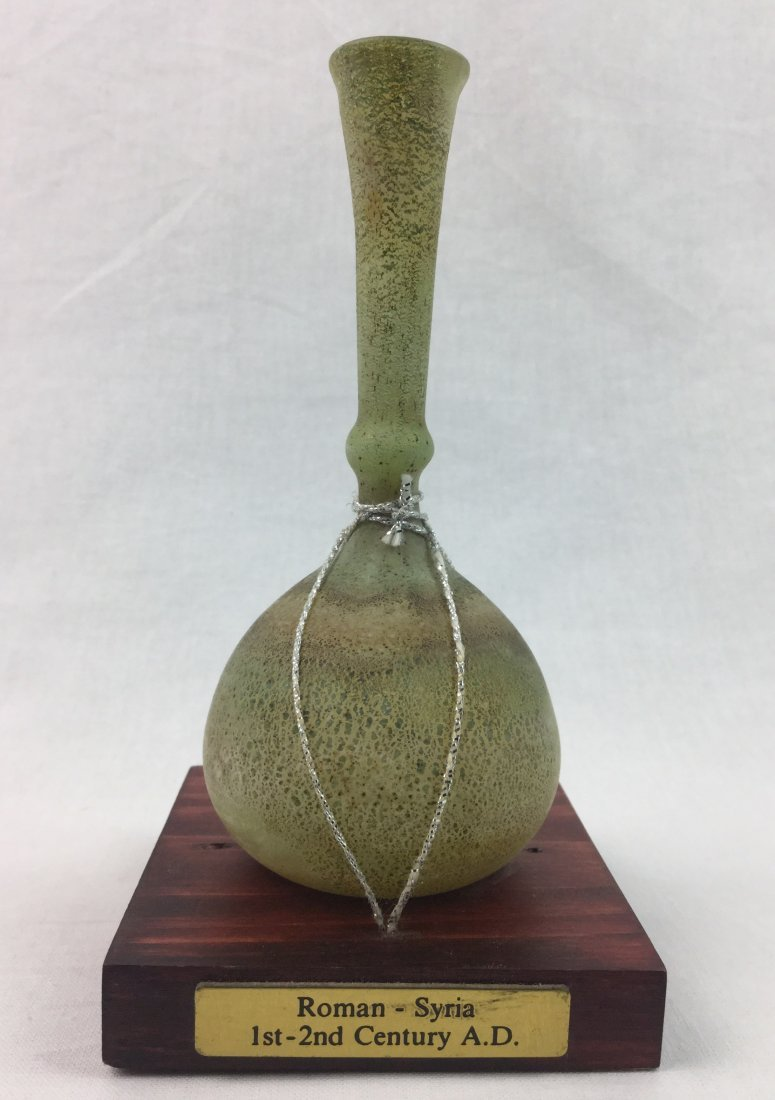 Antique Roman Glass Vase on wood stand