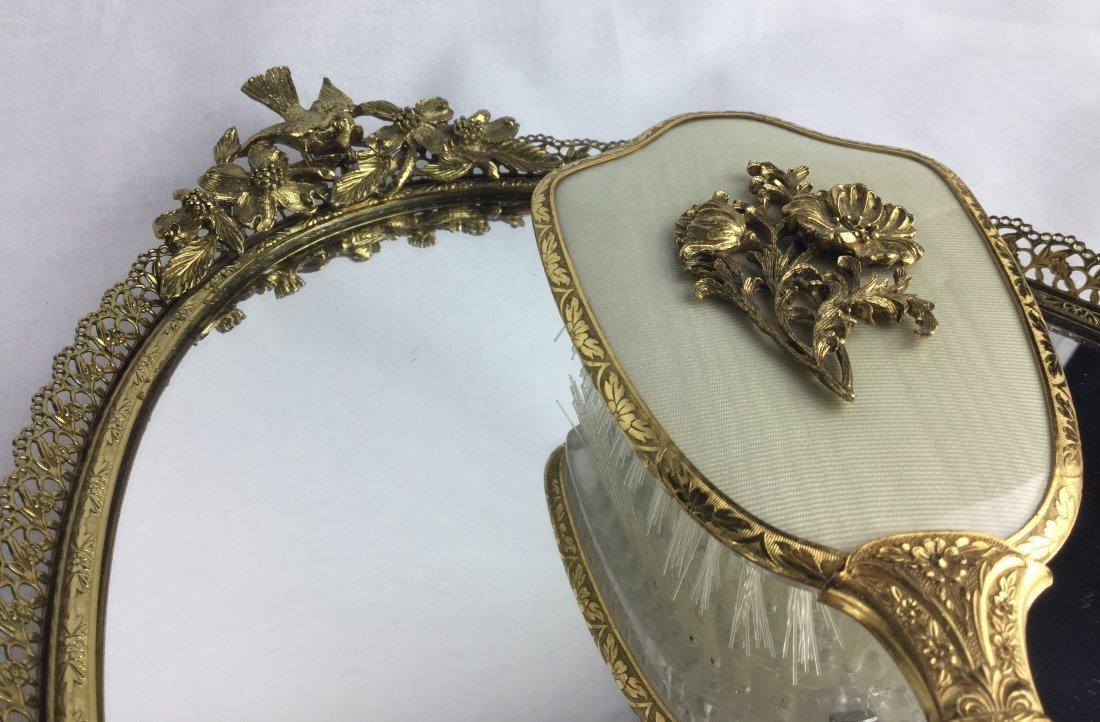 Vintage Matson Gold Filigree Vanity Tray & Brush