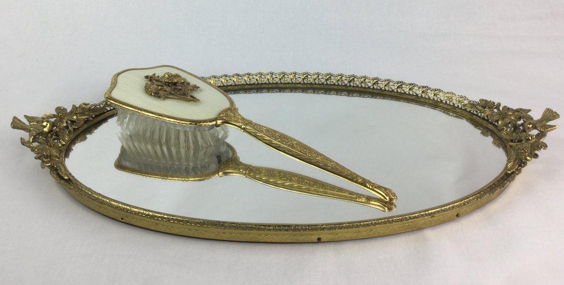 Vintage Matson Gold Filigree Vanity Tray & Brush - 2
