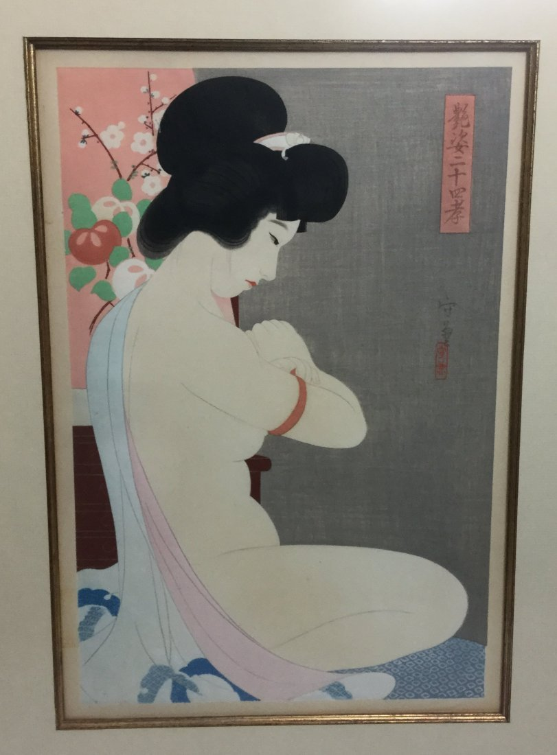 """1935 Morikane """"Nude"""" Wood Block Print Colored - 2"""