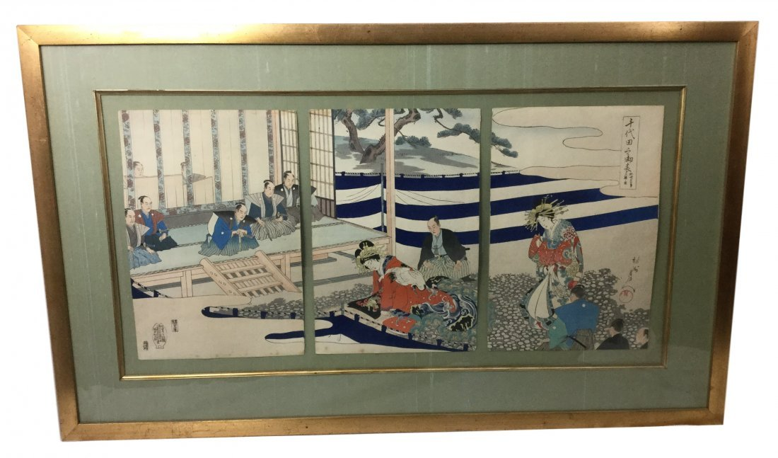 Large Triptych Japanese 3 Wood Block Framed Print