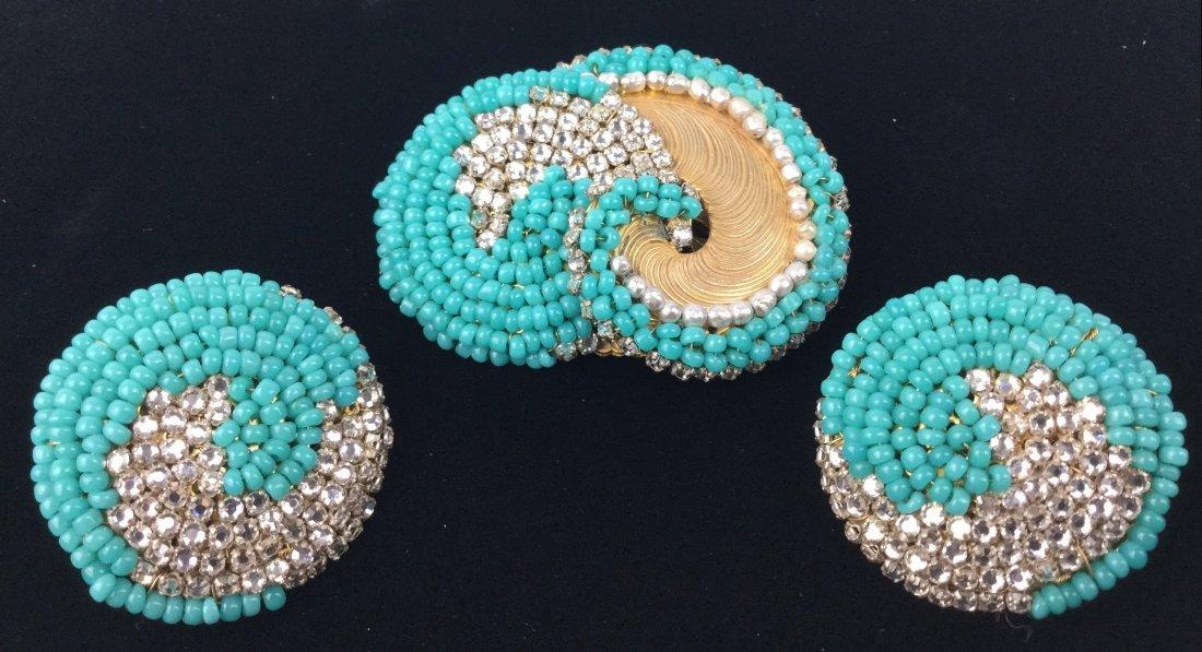 Miriam Haskell Brooch & Earrings Set with Rhinestones