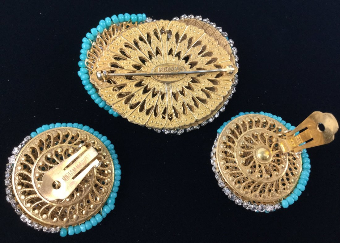 Miriam Haskell Brooch & Earrings Set with Rhinestones - 2