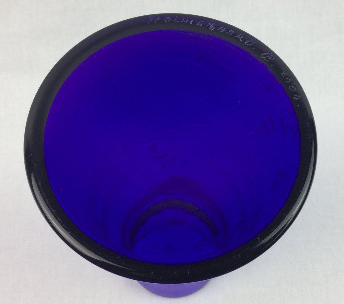 """Holmegaard Signed Cobalt Beaker Vase 7"""" - 2"""