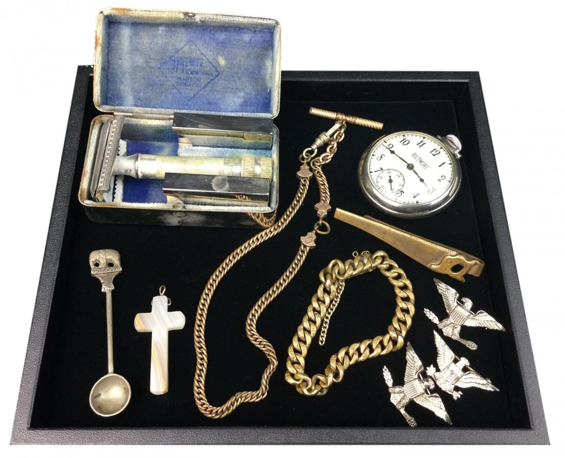 Vintage Collection of Man Trinkets - Watch, Pins, Razor