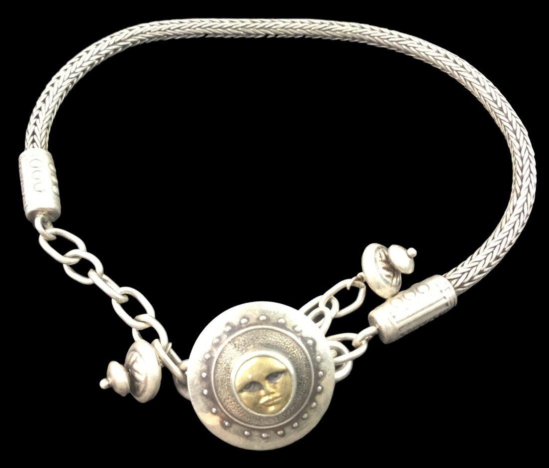 Vintage Sterling & 10 KT Gold Bracelet with Moon Face