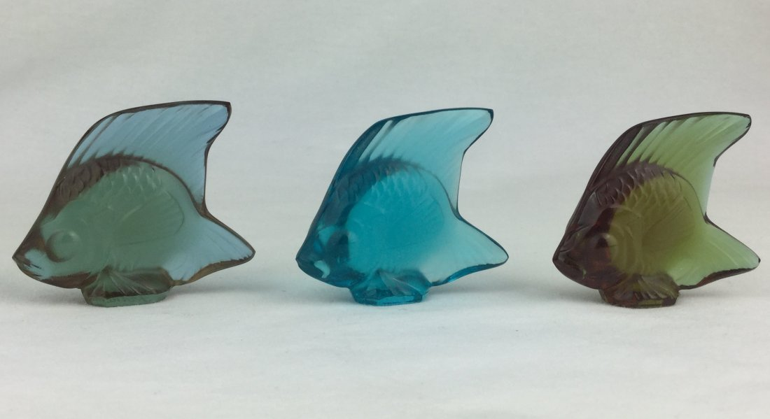 Lalique Signed Art Glass Fish Set of 3 with Boxes