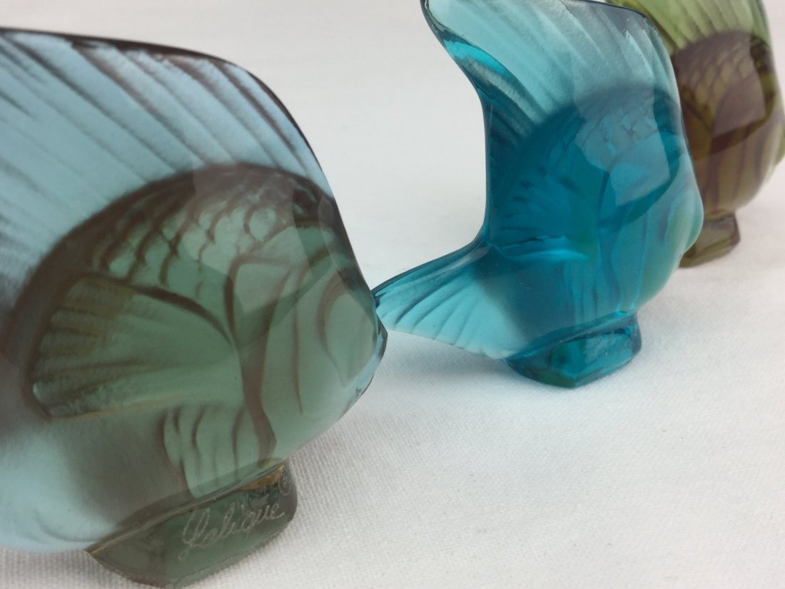 Lalique Signed Art Glass Fish Set of 3 with Boxes - 3